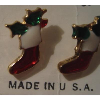 米国製・デッドストック・ビンテージ・クリスマスピアス「クリスマスソックス」【画像3】