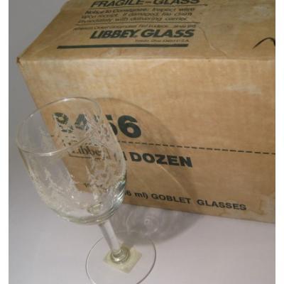 クリスマスモチーフ デッドストック・未使用・Libby Glass・ホワイトクリスマス・ゴブレットグラス