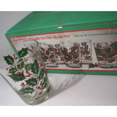 クリスマスモチーフ デッドストック・未使用・Indiana Glass・インディアナグラス・ひいらぎ・オンザロックグラス