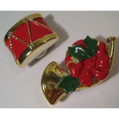 ミラー&コームなどその他服飾雑貨全般 ビンテージ・クリスマスモチーフボタンカバー2個セット