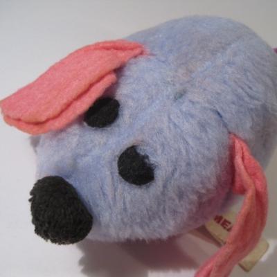 ぬいぐるみ 米国製・水色&ピンク耳・紫しっぽのねずみちゃん