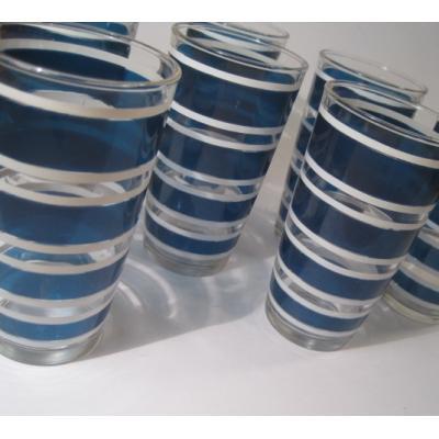 アメリカンミルクグラスブランド ヘーゼルアトラス・ブルー&ホワイト・ストライプタンブラー