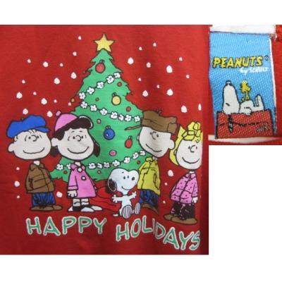 【メンズL】ハッピーホリデーズ・スヌーピーとお友達とクリスマスツリー・レッドトレーナー【画像2】