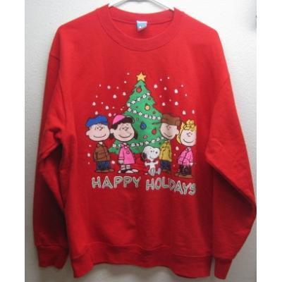 【メンズL】ハッピーホリデーズ・スヌーピーとお友達とクリスマスツリー・レッドトレーナー【画像3】