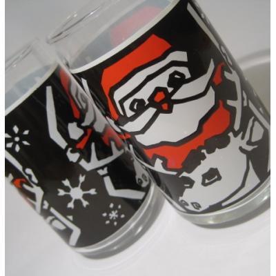 クリスマスモチーフ ブラック&レッド&ホワイト・版画風・サンタ&トナカイグラス