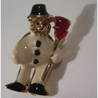 ビンテージクリスマス雑貨「ほうきを持つスノーマンピンズ」