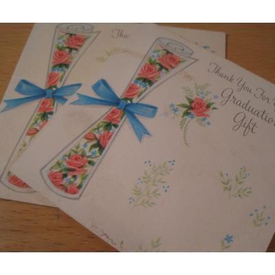 オーナメント&デコレーション ビンテージグリーティングカード「Thank You For Your Graduation Gift」卒業証書&ローズ・2枚セット