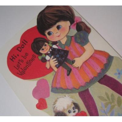 オーナメント&デコレーション ビンテージバレンタインカード「Hi, Doll.  Let's be Valentines」少女&人形&仔犬