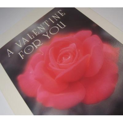 オーナメント&デコレーション ビンテージバレンタインカード「A Valentine For You」レッドピンクローズ5枚セット・封筒付