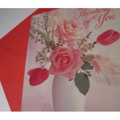 オーナメント&デコレーション ビンテージバレンタインカード「Thinking of You」ピンクローズ・封筒付2枚セット