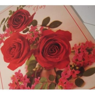 オーナメント&デコレーション ビンテージバレンタインカード「On Valentine's Day...For You」レッドローズ・封筒付