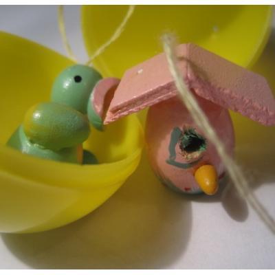 イースター 木製イースターオーナメント「とりさんとピンクのバードハウス」プラスチックエッグケース入り