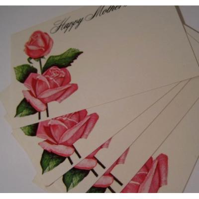 オーナメント&デコレーション ミニグリーティングカード「ピンクのバラ・Happy Mother's Day・母の日用メッセージカード5枚セット」