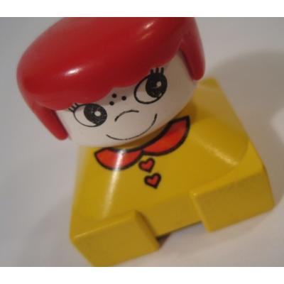 レゴ・プレイモビル・フィッシャープライスフィギュアなど ビンテージレゴフィグ「赤いお洋服、黄色のリボン、金髪の女の子」【B】