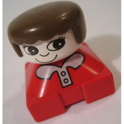 レゴ・プレイモビル・フィッシャープライスフィギュアなど ビンテージレゴフィグ「赤いお洋服、白の襟、茶色い髪の毛の女の子」