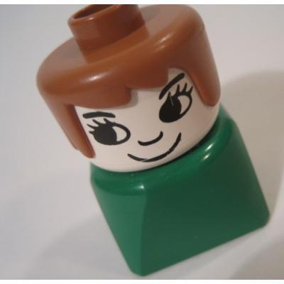 レゴ・プレイモビル・フィッシャープライスフィギュアなど ビンテージレゴフィグ「茶色い紙&グリーンベースの女性」
