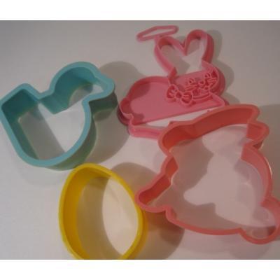 イースター プラスチック・イースタークッキーカッター・うさぎx2&あひるx1&エッグx1・4点セット