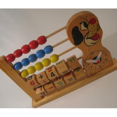 トランプ・パズル・ゲーム・塗り絵・ステンシルなど ビンテージ・木製わんちゃん・算数&時計・知育玩具