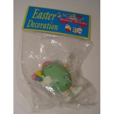 イースター デッドストック・イースター用・プラスチック製・花束を持ったミントグリーンのタマゴフィギュア