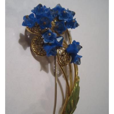 ビンテージアクセサリー「ロイヤルブルーのお花のビッグブローチ」
