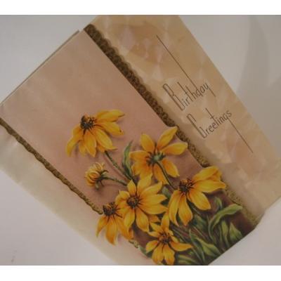 ビンテージグリーティングカード「1940年代後半〜1960年代前半・使用済・黄色のお花・Birthday」