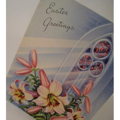 イースター ビンテージグリーティングカード「1940年代後半〜1960年代前半・使用済・イースターリリー」