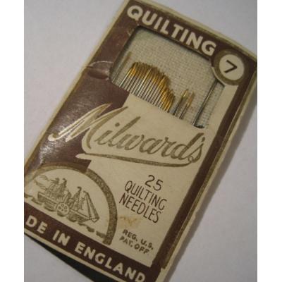 その他 ビンテージソーイングアイテム「イギリス製・Milward's」紙製ケース入りキルティング用針24本セット