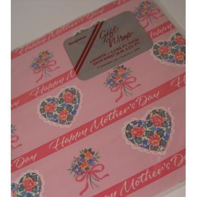 オーナメント&デコレーション ビンテージラッピングペーパー「未使用・未開封・Happy Mother's Day・カラフルフラワーブーケ」2枚セット