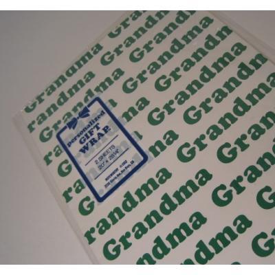 オーナメント&デコレーション ビンテージラッピングペーパー「未使用・未開封・Grandma・2枚セット」