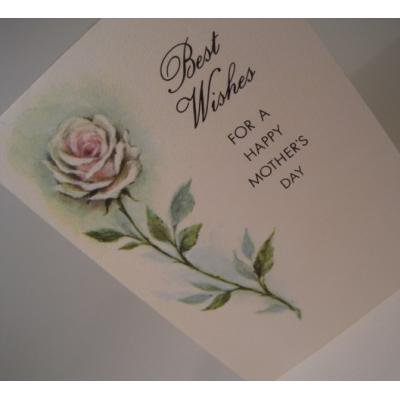 オーナメント&デコレーション ビンテージカード「使用済・Best Wishes for a happy mother's day・ピンクローズ」母の日