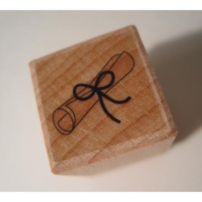 オーナメント&デコレーション デッドストック・ビンテージ木製&ラバースタンプ「卒業証書」