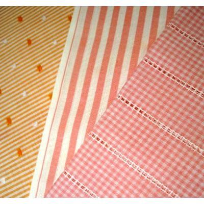 異なる柄などのセット ビンテージはぎれ「ピンク&オレンジ系チェック&ストライプ3種」セットE