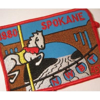 ハンドメイド用タグ&パッチ&アップリケ&ワッペン ビンテージワッペン「1980 SPOKANE・メリーゴーランド」