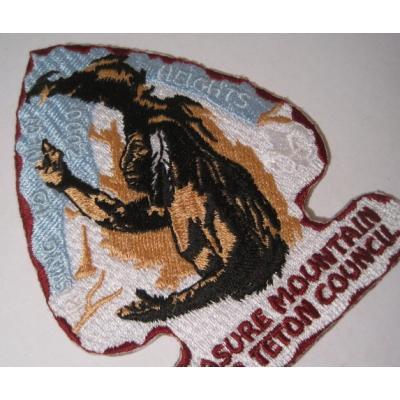 ハンドメイド用タグ&パッチ&アップリケ&ワッペン ビンテージワッペン「Treasure Mountain Grand Teton Council・インディアン」