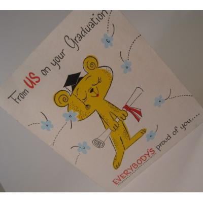 オーナメント&デコレーション ビンテージカード使用済「From US on your graduation」卒業するクマちゃん