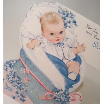 ビンテージカード「For You and Your Little Son」ブルーのベイビーブーツの中のベイビーちゃん♪