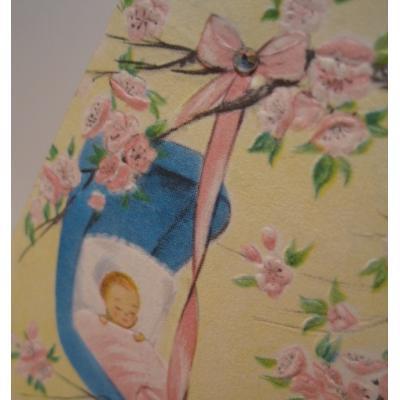 ビンテージカード「Welcome, Baby Dear!」ピンクのお花の木の下で眠るベイビーちゃん