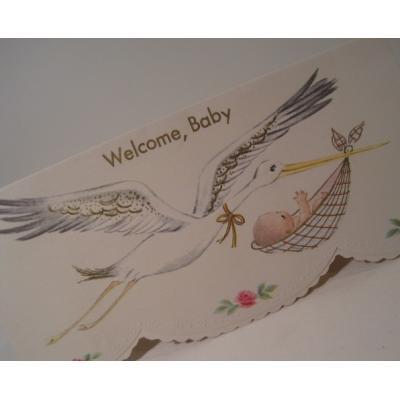 ビンテージカード「Welcome, Baby」ベイビーを運ぶこうのとり