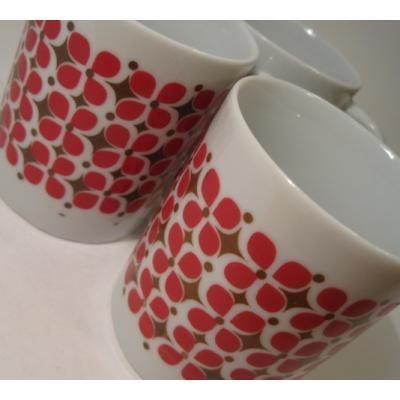 米国製ミッドセンチュリー&陶器製マグ・食器など 陶器製「北欧風フラワーデザイン」マグ