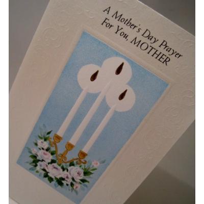 オーナメント&デコレーション 未使用・封筒付カード「A Mother's Day Prayer For You, MOTHER!」バラとキャンドル3本・母の日