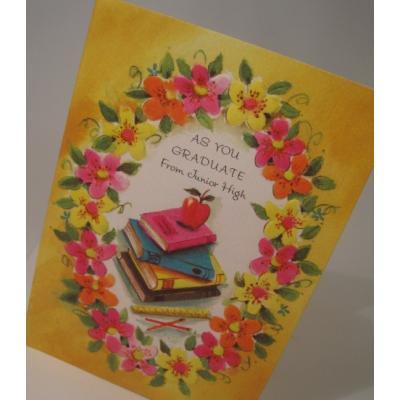 他行事 未使用・封筒付カード「AS YOU GRADUATE from Junior High」お花と本とリンゴ・中学校卒業