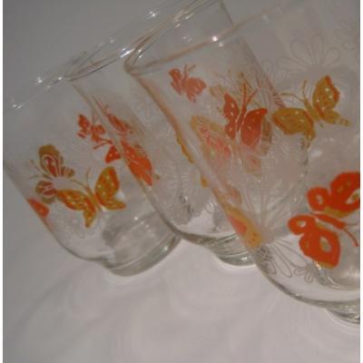 オレンジ&イエローバタフライ・ホワイトデイジー・ジュースグラス