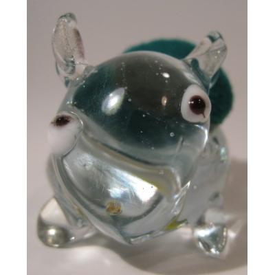 その他 ビンテージ・ガラス製アニマル・グリーンピンクッション