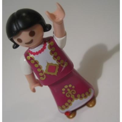 レゴ・プレイモビル・フィッシャープライスフィギュアなど ユーズド・プレイモービル・フューシャピンクのドレスをきた黒髪の女の子フィギュア