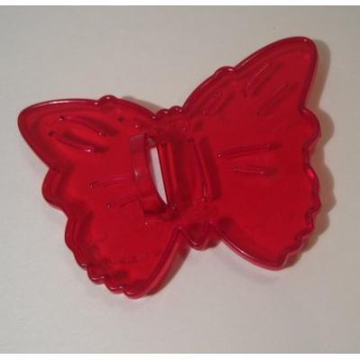 ビンテージ・米国製・シースルーレッド・プラスチック製・クッキーカッター「バタフライ」