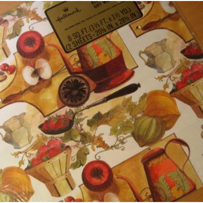 その他 デッドストック・未開封・ビンテージラッピングペーパー「フルーツ&キッチン」2枚セット