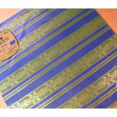 その他 デッドストック・未開封・ビンテージラッピングペーパー「ブルー&グリーンボーダー」2枚セット