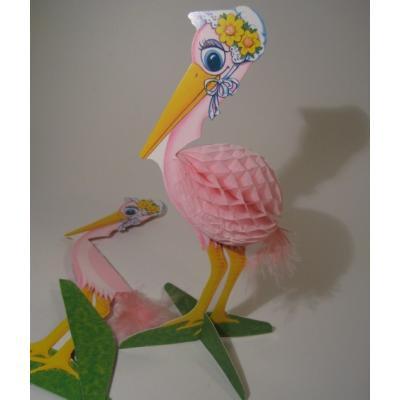 ベビー系デコレーション 1976年・米国製・紙製・出産祝いパーティーデコレーション「ピンクのペリカン」