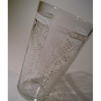 アメリカンミルクグラスブランド フェデラル・ビンテージ・ホワイトプリント・カクテルシェイカーグラス