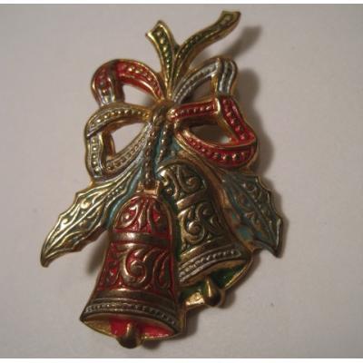 スペイン製・クリスマス・赤&緑のクリスマスベルブローチ